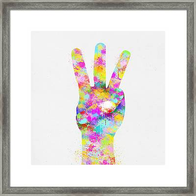 Colorful Painting Of Hand Point Three Finger Framed Print by Setsiri Silapasuwanchai