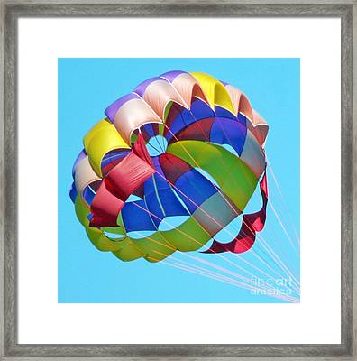 Colorful Parachute Framed Print by Val Miller