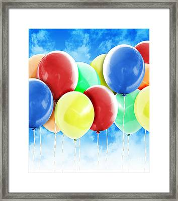 Colorful Party Celebration Balloons In Sky Framed Print by Angela Waye
