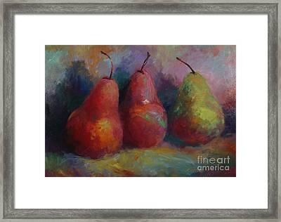 Colorful Pears Framed Print by Sandra Leinonen Dunn
