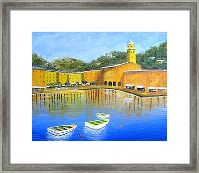 Colorful Reflections Of Portofino Framed Print by Larry Cirigliano