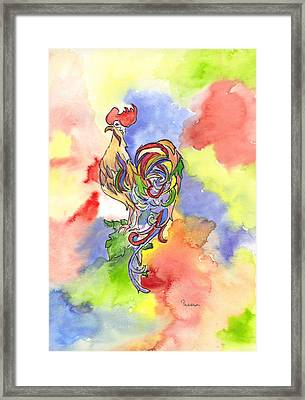 Colorful Rooster Framed Print by Theresa Jones