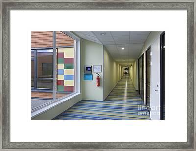Colorful School Hallway Framed Print