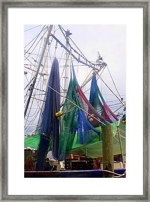 Colorful Shrimp Boat Nets Framed Print by Carla Parris