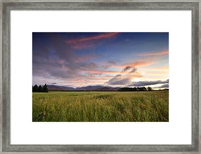 Colorful Sunset Over The High Peaks Wilderness In Adirondack Park - New York Framed Print by Brendan Reals