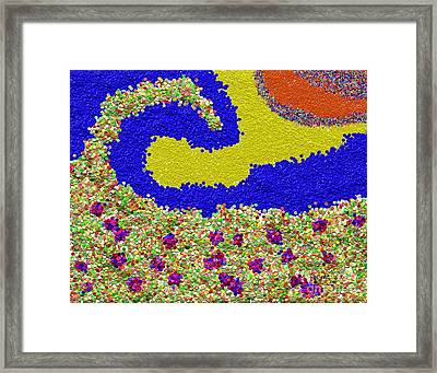 Colorful Textured Wave Framed Print by Rod Seeley