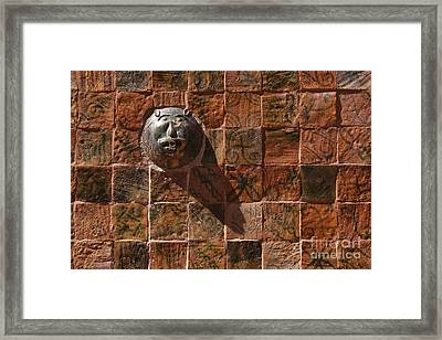 Colorful Tiles And Lion Face Fountain Framed Print