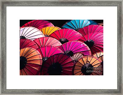 Framed Print featuring the photograph Colorful Umbrella by Luciano Mortula