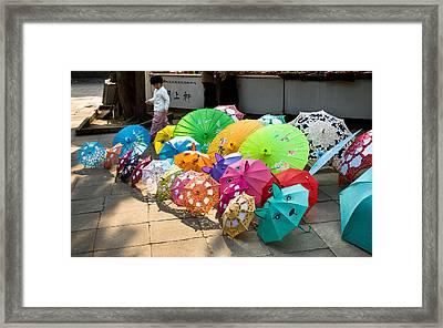 Colorful Umbrellas Framed Print by John Wong