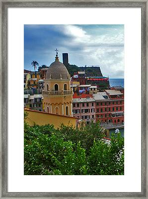 Colorful Village Of Vernazza Located In Cinque Terre Liguria Italy Framed Print by Jeff Rose