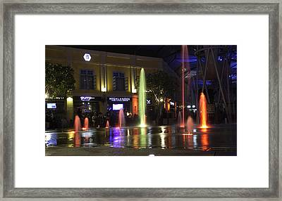 Colorful Water Jets At Clarke Quay In Singapore Framed Print by Ashish Agarwal