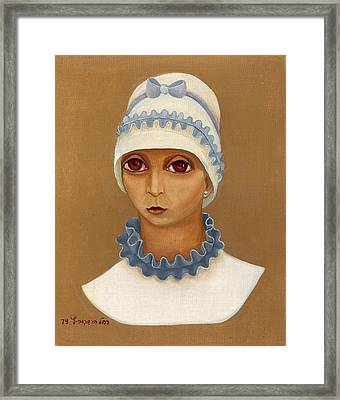 Colorful Young Woman Brown Eyes Blue White Hat Collar  With Ribbon Small Lips Framed Print by Rachel Hershkovitz