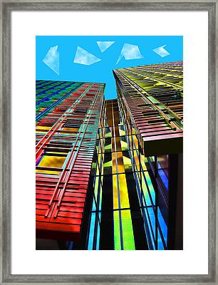 Colors In The City With Clouds Framed Print by Jasna Buncic