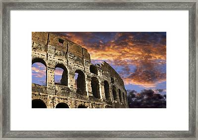 Coloseum On Fire Framed Print