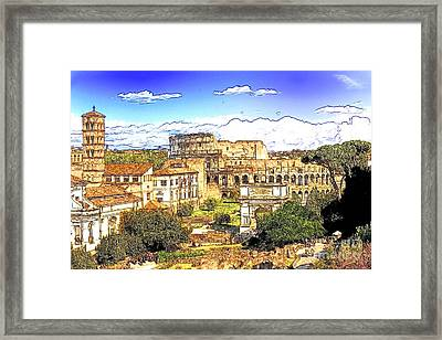 Colosseum And Roman Forum Framed Print