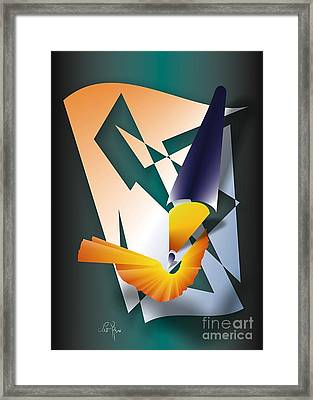 Framed Print featuring the digital art Coloured Pencil by Leo Symon