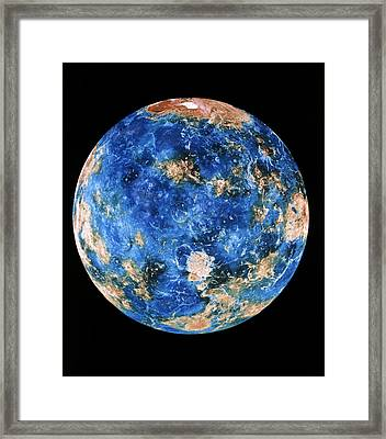 Coloured Radar Image Of Venus Hemisphere Framed Print by Nasa