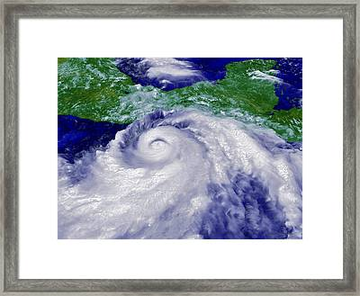 Coloured Satellite Image Of Hurricane Pauline Framed Print