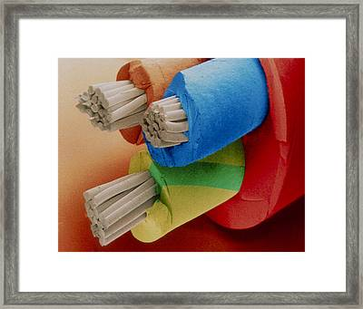 Coloured Sem Of 3-core Electric Cable. Framed Print by Power And Syred