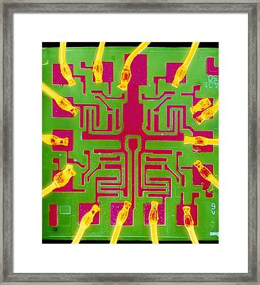 Coloured Sem Of A 7401 Ttl Integrated Circuit Framed Print by Dr Jeremy Burgess