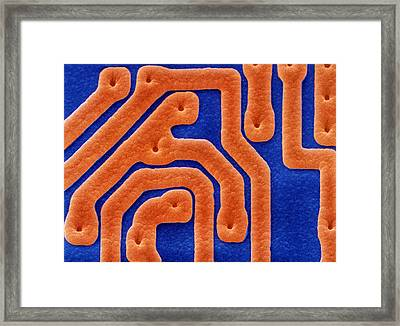 Coloured Sem Of Integrated Circuits. Framed Print by Power And Syred
