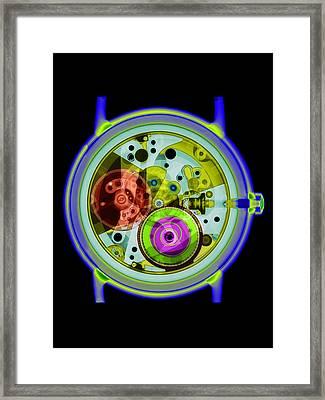 Coloured X-ray Of A 17-jewel Wrist-watch Framed Print