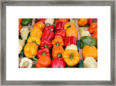 Colourful Peppers Framed Print by Kim French