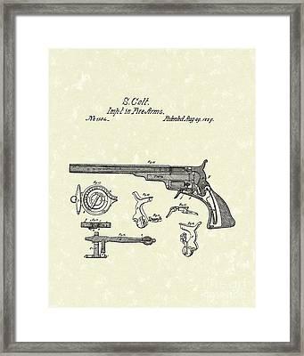 Colt Firearms 1839 Patent Art Framed Print by Prior Art Design