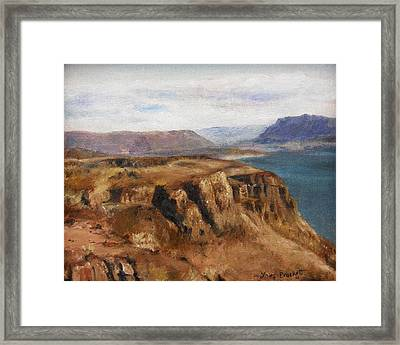 Framed Print featuring the painting Columbia River Gorge I by Lori Brackett