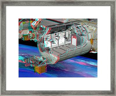 Columbus Iss Module, Stereo Image Framed Print