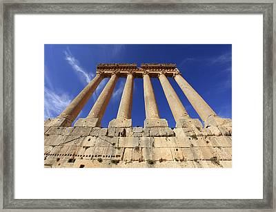Columns And Capitals Of Roman Temple Of Jupiter Ruins Dating To Around 60 Ad, Baalbek, Lebanon Framed Print by David Forman