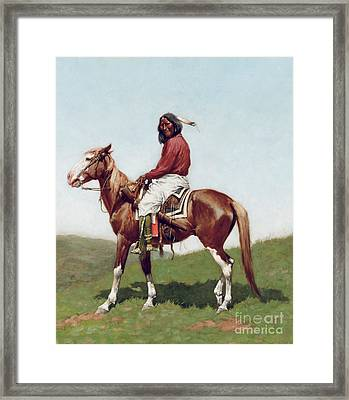 Comanche Brave Framed Print by Frederic Remington