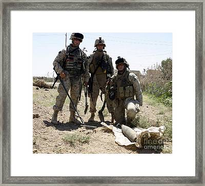 Combat Engineers Stand Behind An Framed Print