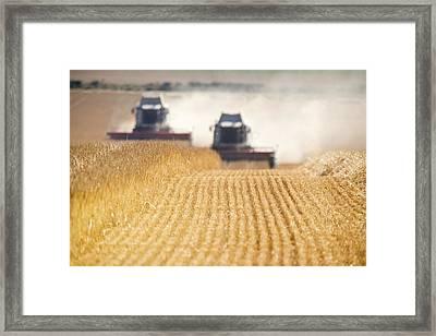 Combines Harvesting Field, North Framed Print by John Short