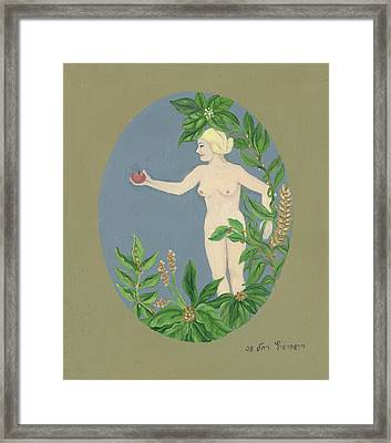 Come And Get It Eva Offers A Red Apple  To Adam In Green Vegetation Leaves Plants And Flowers Blond  Framed Print by Rachel Hershkovitz
