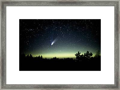 Comet Hale-bopp And Aurora Borealis, 30 March 1997 Framed Print by Pekka Parviainen
