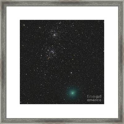 Comet Hartley 2 And The Double Cluster Framed Print by Rolf Geissinger