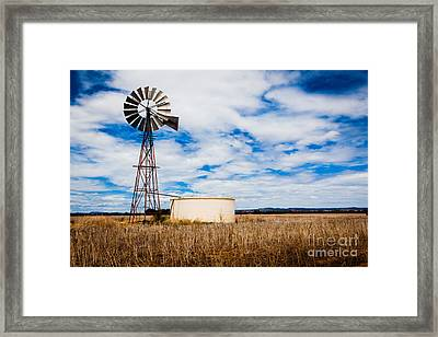 Comet Windmill And Clouds Framed Print