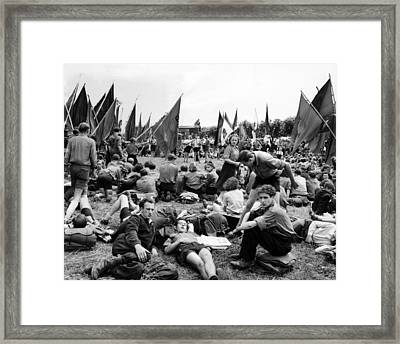 Communist Youth Group Of 500 Protesting Framed Print by Everett