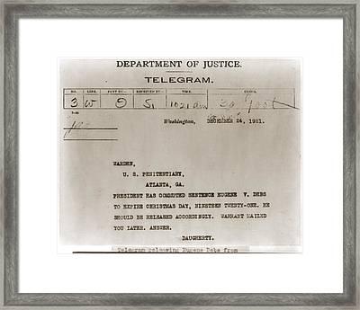 Commutation Of Eugene Debs Jail Framed Print by Everett