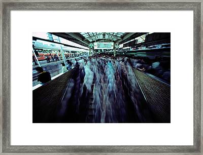 Commuters Crowd A Subway Platform Framed Print by Paul Chesley