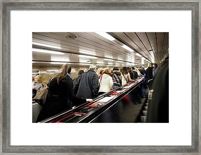 Commuters On Escalators In Prague Metro Framed Print