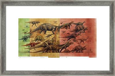 Comparison Of Dinosaurs Of Triassic Framed Print