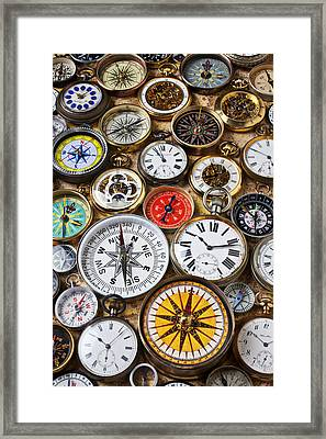 Compases And Pocket Watches  Framed Print by Garry Gay