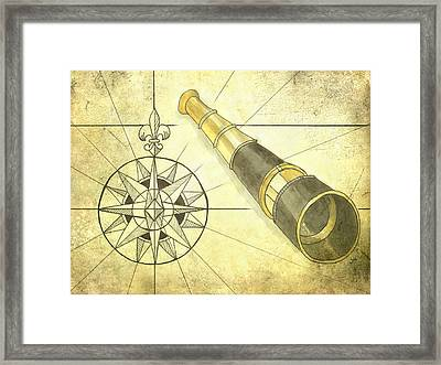 Compass And Monocular Framed Print