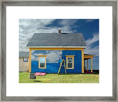 Composite - Blue Sky House Framed Print