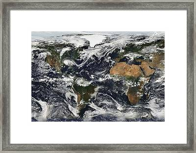 Composite World Map Made From Satellite Framed Print by Everett