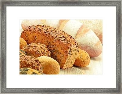 Composition With Bread And Rolls Framed Print by T Monticello