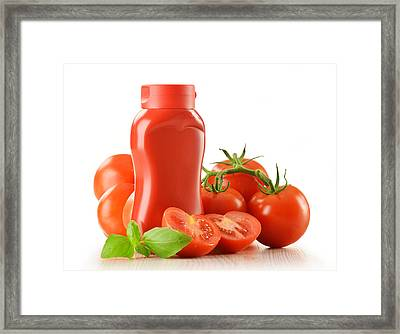 Composition With Ketchup And Fresh Tomatoes Isolated On White Framed Print by T Monticello