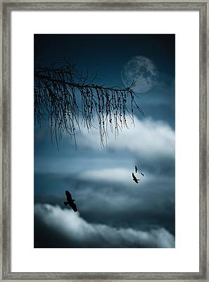 Composition With Tree, Moon, Clouds And Birds Framed Print